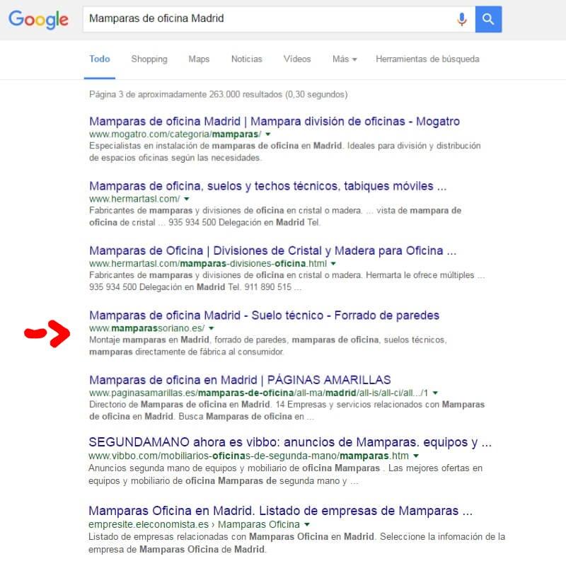Posicionamiento web Mamparas Soriano