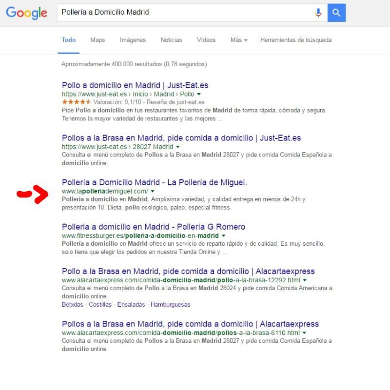Posicionamiento web - La Pollería de Miguel