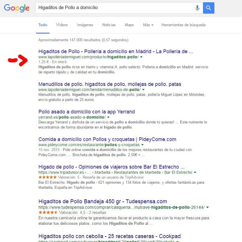 Posicionamiento web La pollería de Miguel